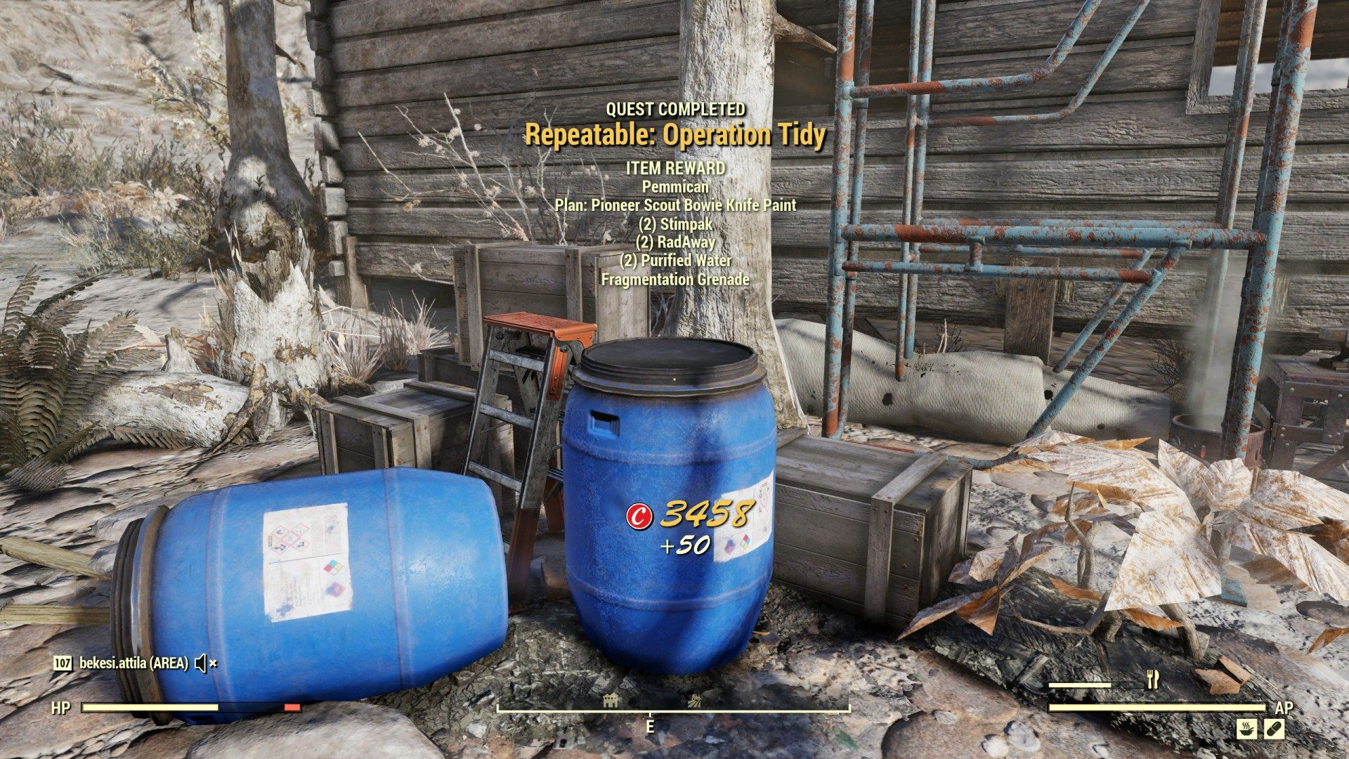 Repeatable: Operation Tidy, Fallout 76 Quest