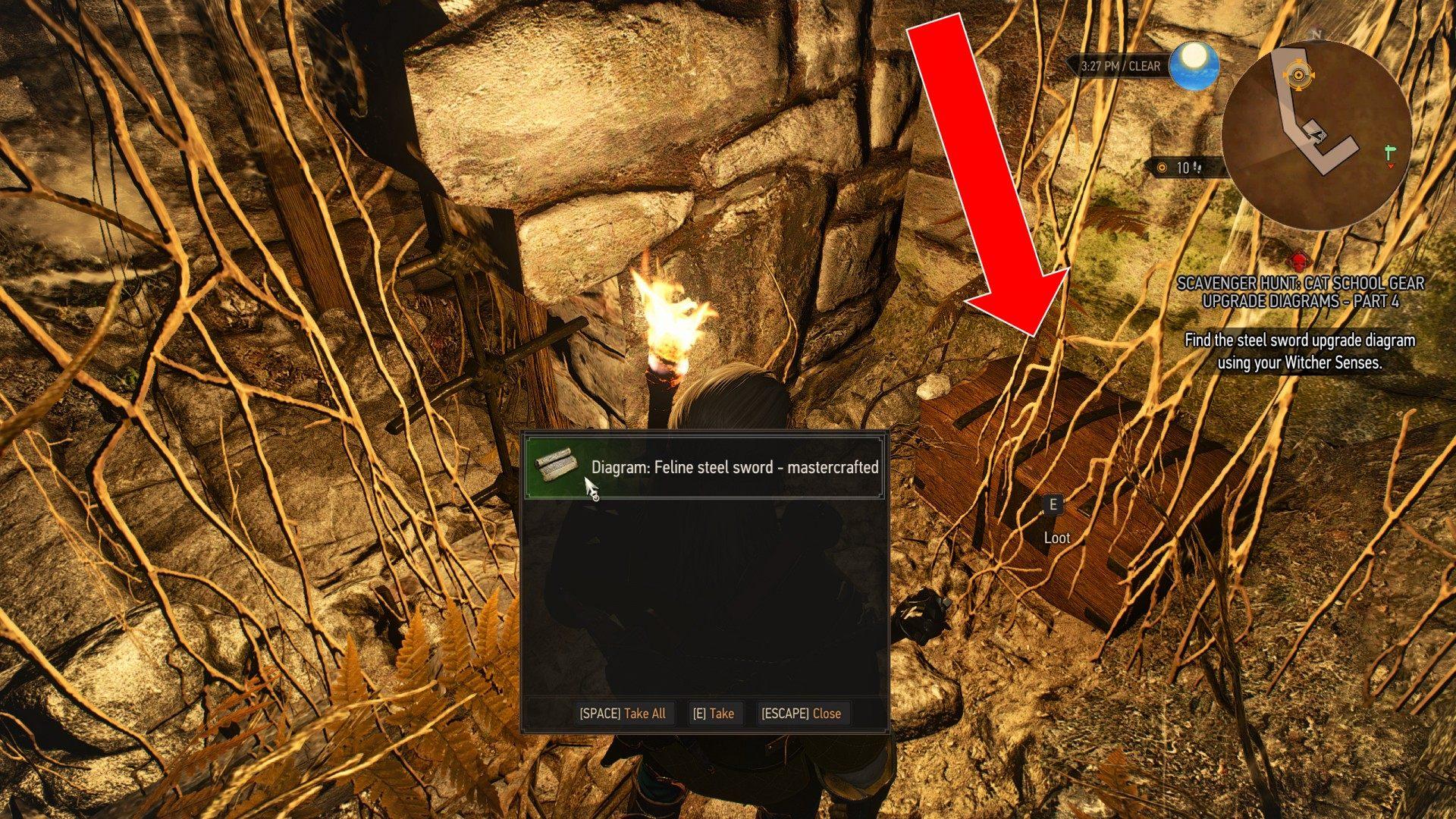 Scavenger Hunt Cat School Gear Upgrade Diagrams Part 4 Witcher 3 Wild Hunt Quest