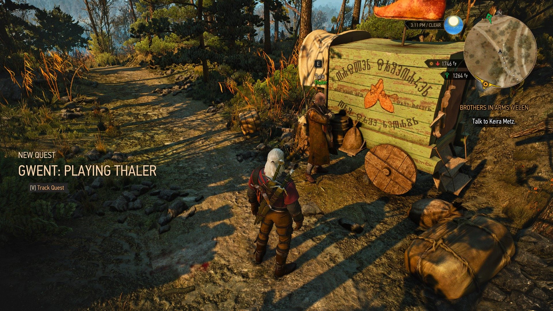 gwent playing thaler witcher 3 wild hunt quest
